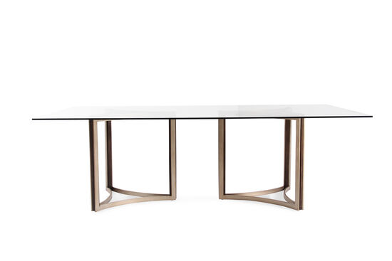 """Contemporary 52"""" Glass Top Dining Table in Matte Gold"""