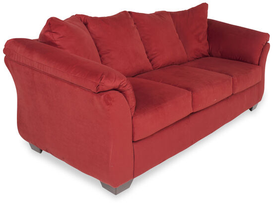 "Contemporary Low-Profile 90"" Sofa in Red"