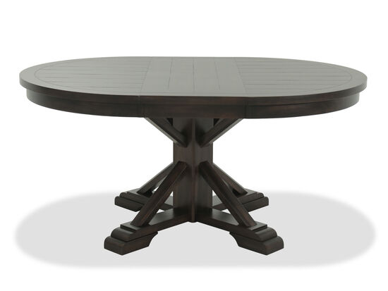 Images Casual Oval Pedestal Dining Table In Earthy Brown