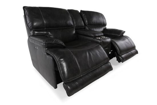 """Power Reclining Leather 80"""" Loveseat with Console in Medium Black"""