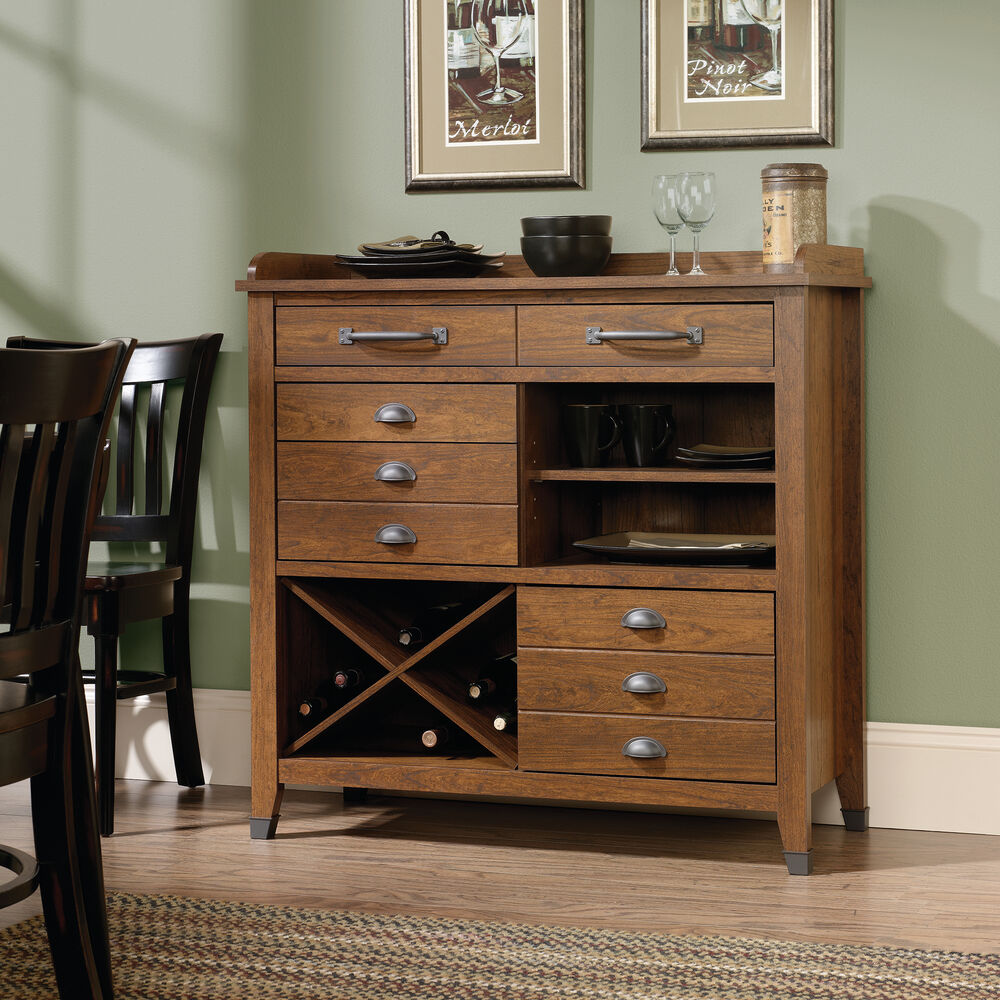 X Wine Rack Transitional Sideboard In Washington Cherry
