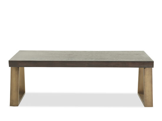 Rectangular Live Edge Mid-Century Modern Cocktail Table in Antique Brass