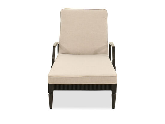 Reeded Aluminum Chaise Lounge in Beige