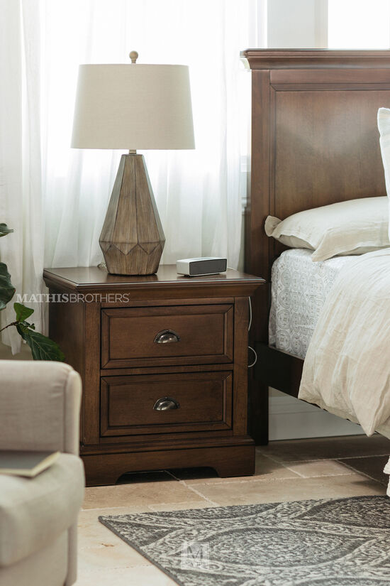 Contemporary Paneled Two-Drawer Nightstand in Dark Brown