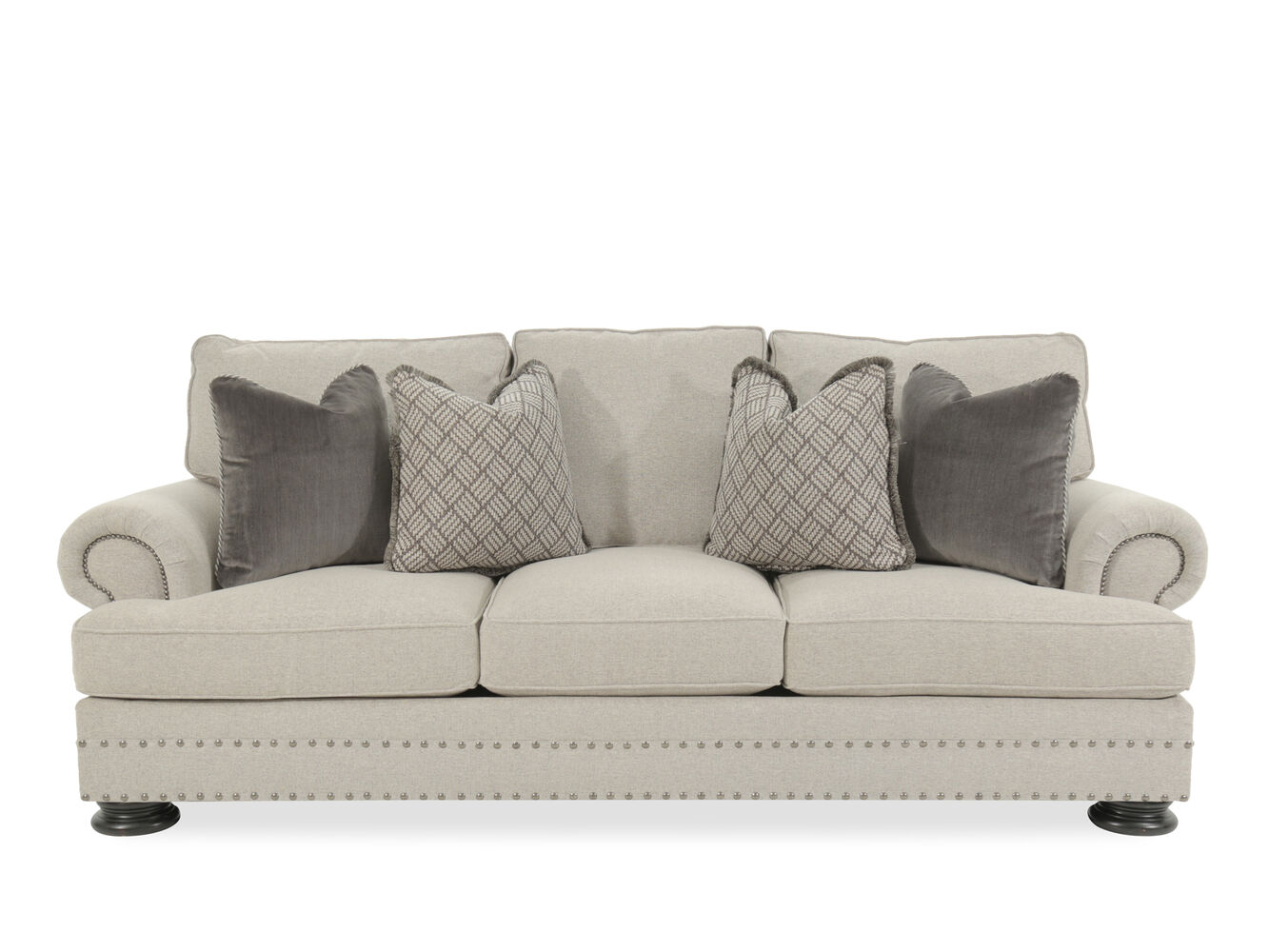 Nailhead Accented 98 Quot Rolled Arm Sofa In Gray Mathis
