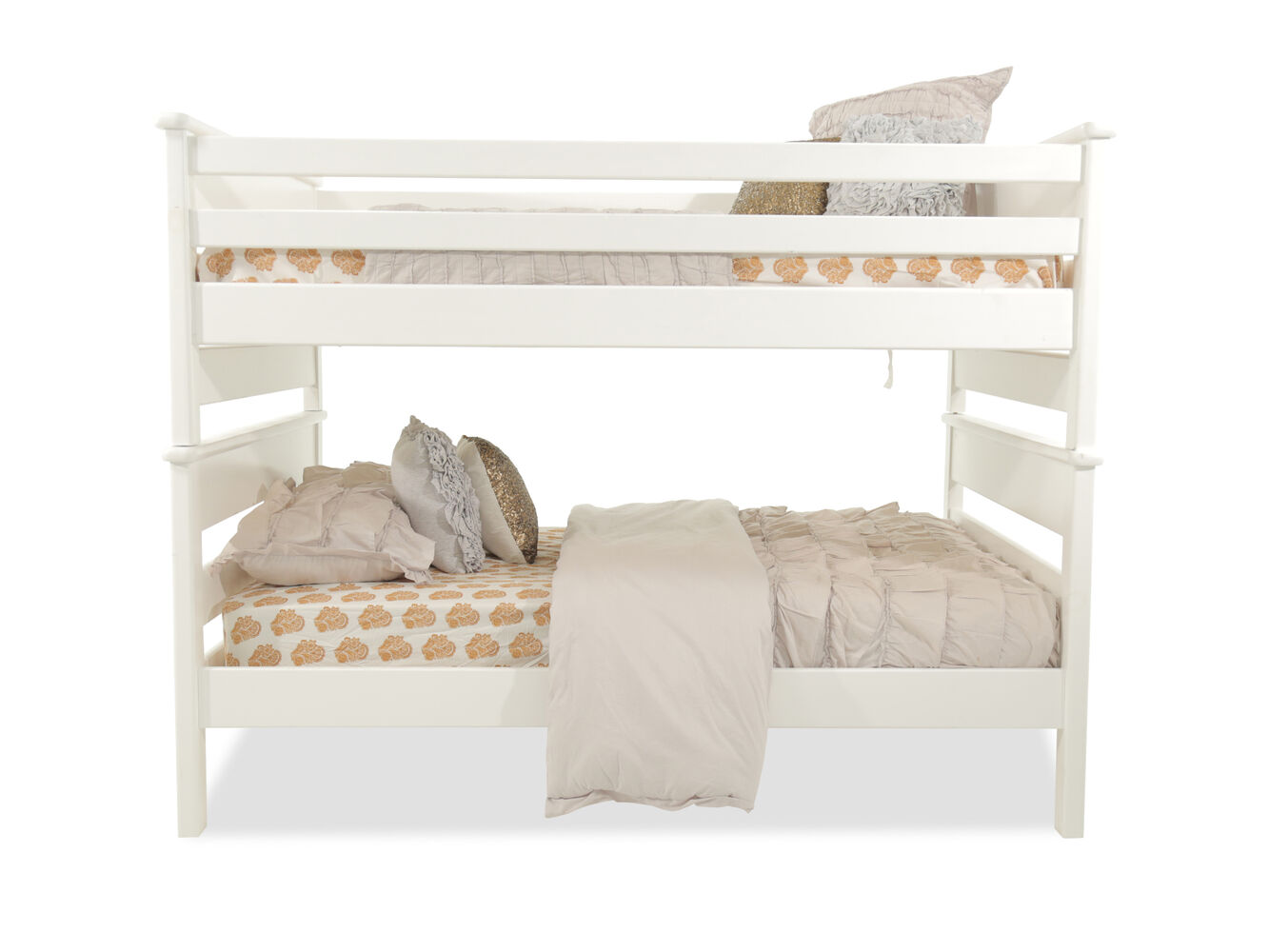 Contemporary youth full over full bunk bed in white for Full over full bunk beds