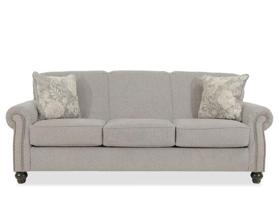 "Contemporary Nailhead-Accented 92"" Sofa in Gray"