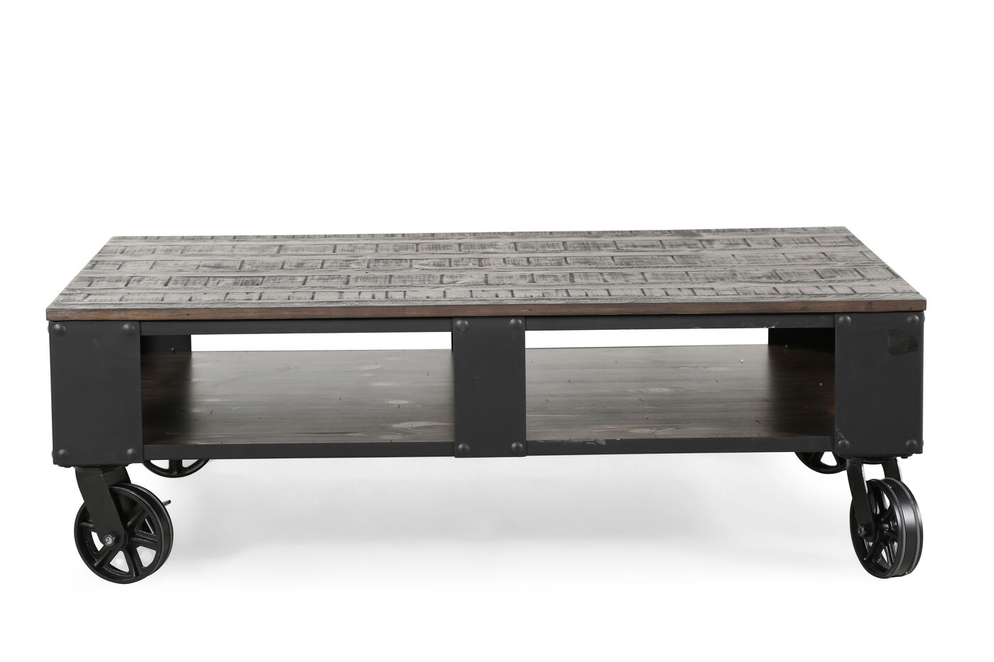 Rectangular contemporary wheeled cocktail table in for Charcoal coffee table