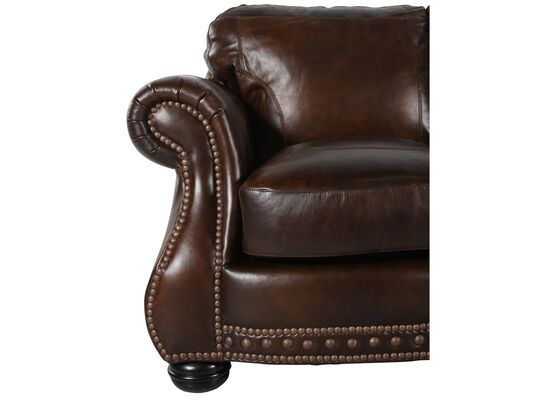 "88"" Traditional Leather Sofa in Brown"