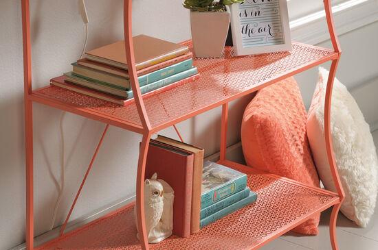 Five-Shelf Mid-Century Modern Bookcase in Coral