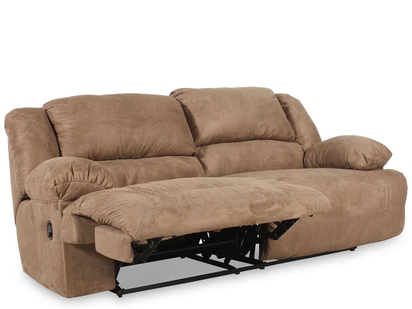 Contemporary Microfiber 96 Reclining Sofa In Mocha