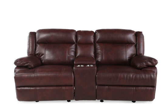 "Reclining Contemporary 79"" Loveseat Glider with Console in Dark Burgundy"