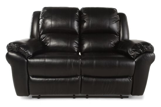 "Motion Reclining Leather 65"" Loveseat in Black"