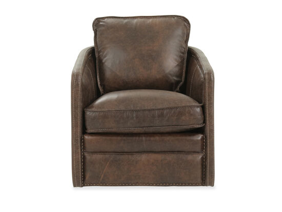 """Self-Centering Leather 36"""" Swivel Chair in Brown"""
