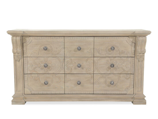 "41"" Casual Scroll Engraved Dresser in Brown"