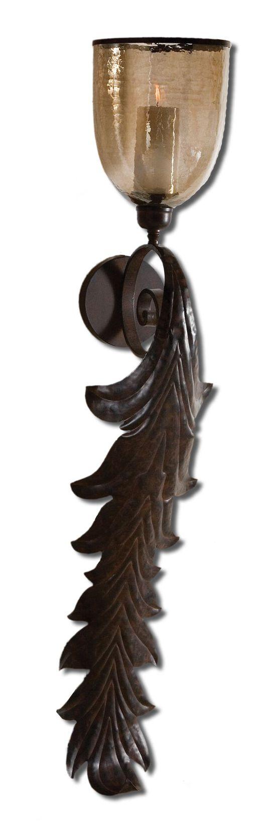 Flowing Leaf Wall Sconce in Dark Rust Bronze