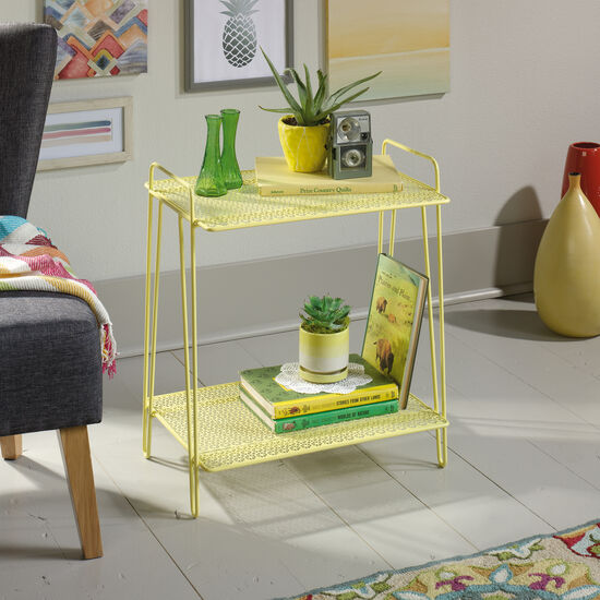 Perforated Shelves Contemporary Accent Table in Yellow