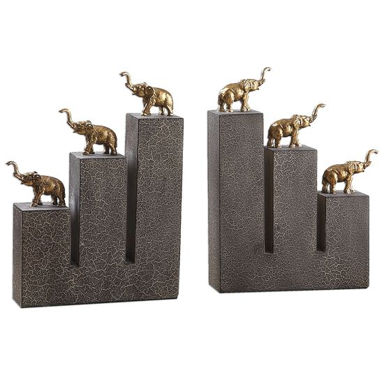 Two-Piece Gold Elephant Bookends in Black