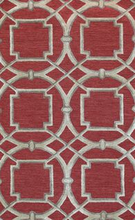 LBJ Hand Tufted Wool/Viscose Red/tan 5' X 8' Rug
