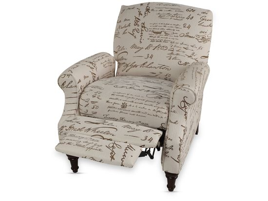 "Calligraphic Traditional 32"" High Leg Recliner"