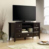 Transitional Adjustable Shelf Entertainment Credenza in Jamocha Wood