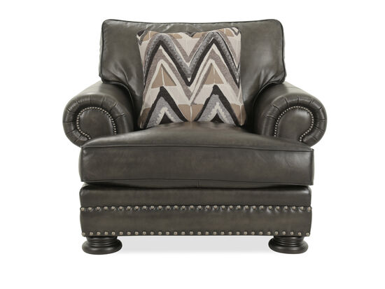 "Nailhead-Trimmed Traditional 46"" Chair in Gray"