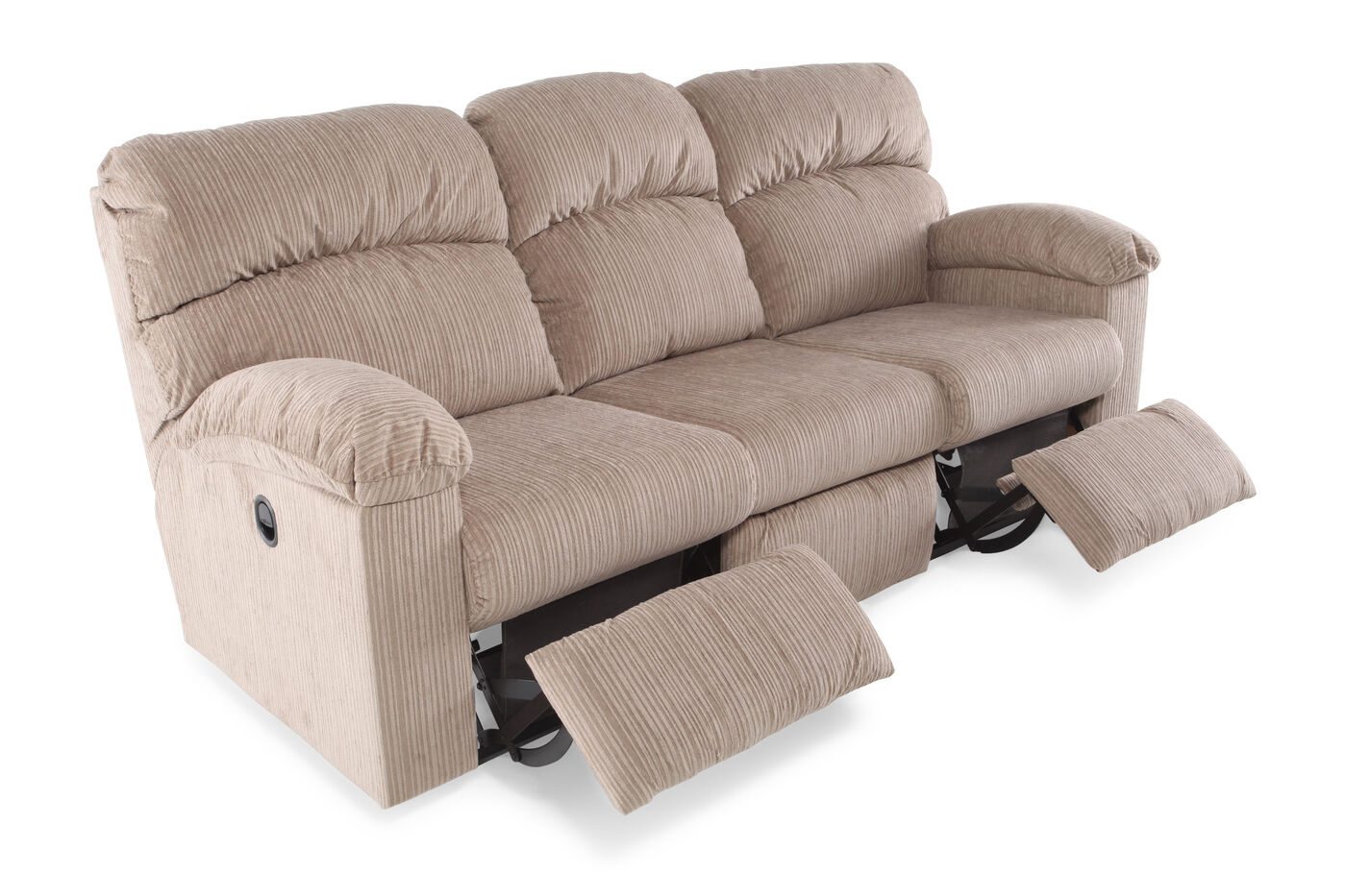 85 5 corduroy reclining sofa in tan mathis brothers furniture. Black Bedroom Furniture Sets. Home Design Ideas