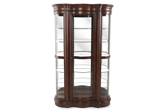 Five-Shelf Contemporary Curved Front Curio in Dark Brown Hickory