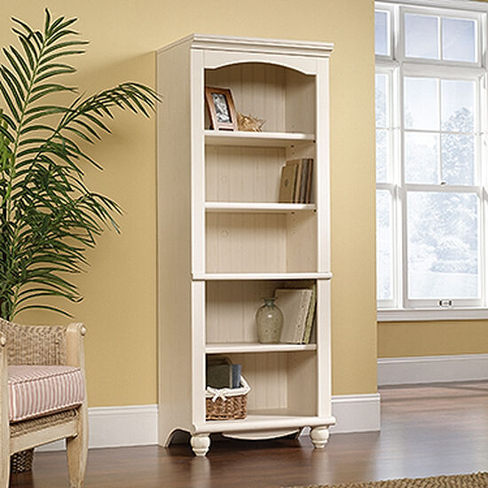 Traditional Adjustable Shelf Open Library in Antiqued White