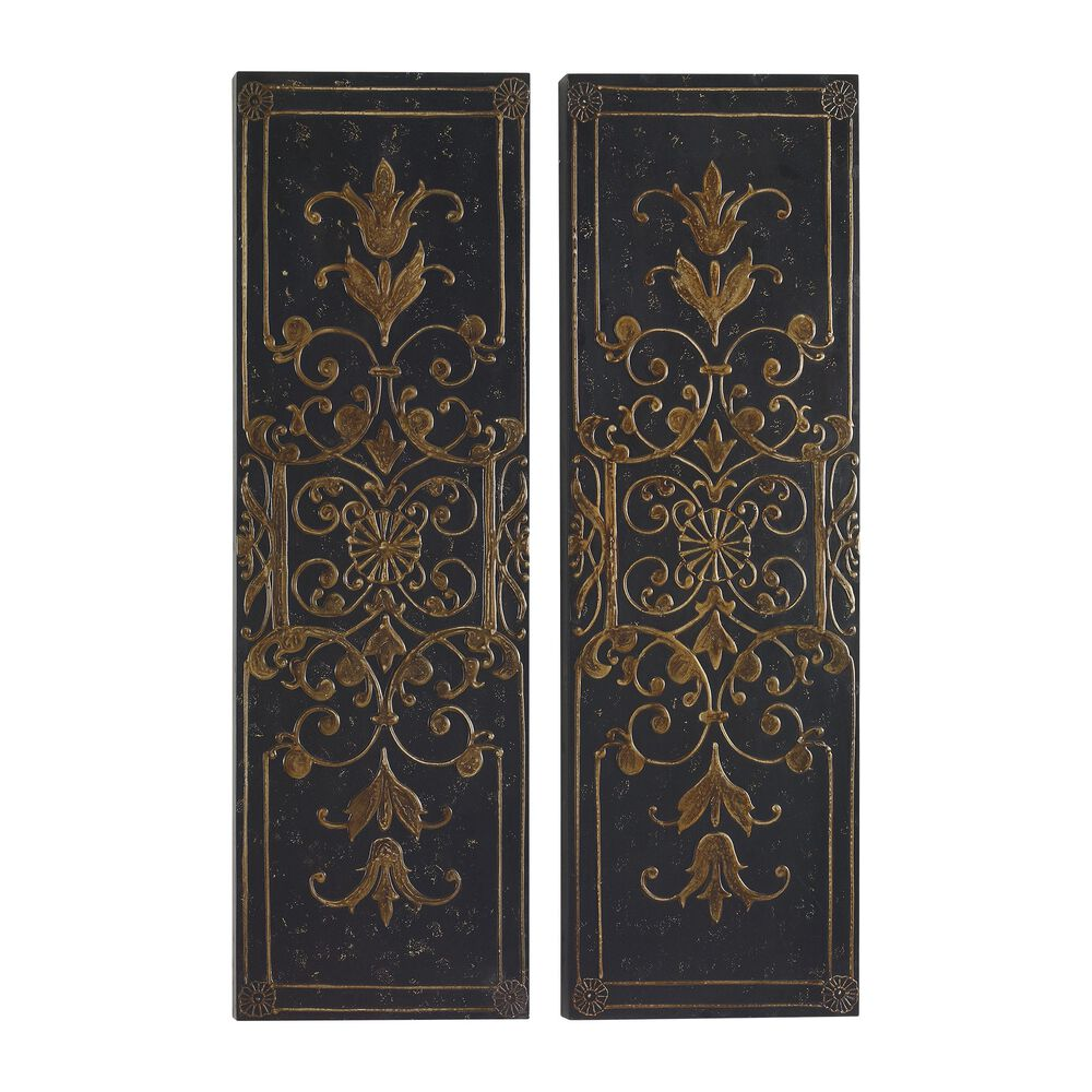 Two Piece Raised Scroll Motif Wall Panels In Golden Taupe