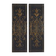 Two-Piece Raised Scroll Motif Wall Panels in Golden Taupe