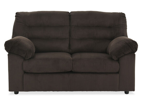 "Rib Textured Contemporary 64"" Loveseat in Chocolate"