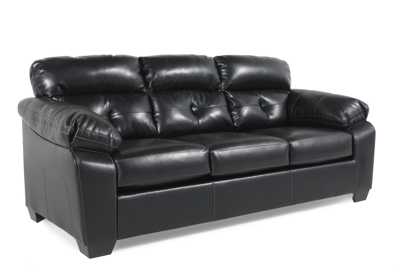 contemporary tufted 87 sofa in black mathis brothers furniture. Black Bedroom Furniture Sets. Home Design Ideas