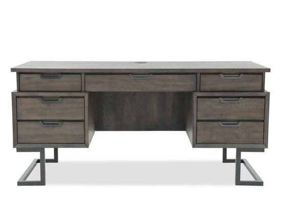"""66"""" Mid-Century Modern Seven-Drawer Executive Desk in Dark Brown"""