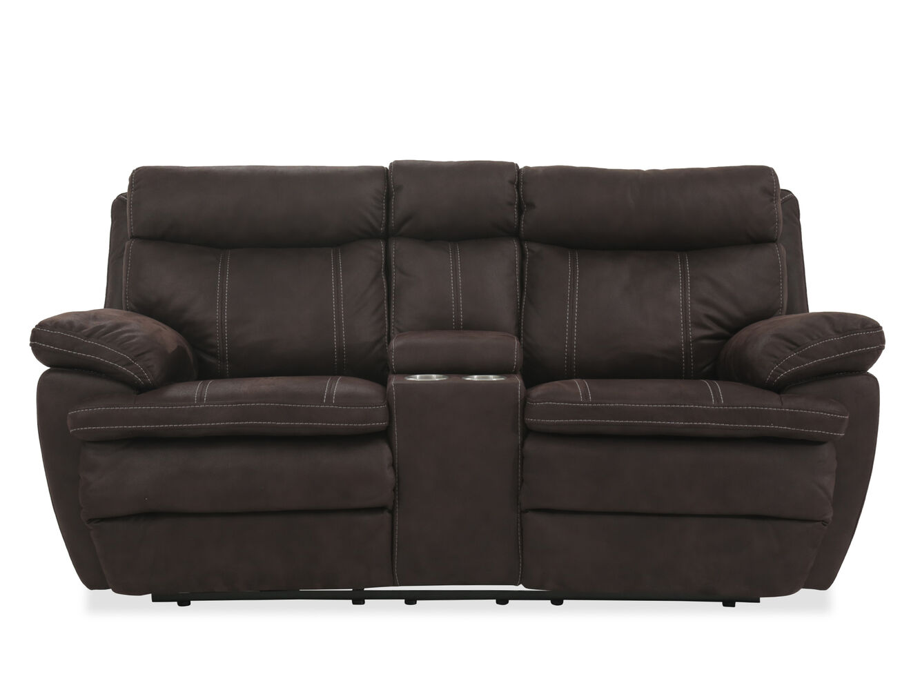 Power Reclining Microfiber 77 Loveseat With Console In Dark Brown Mathis Brothers Furniture
