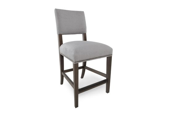 """Nailhead Accented 41"""" Bar Stool in Gray"""