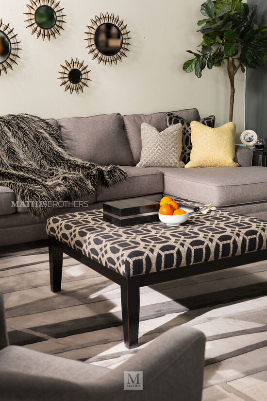 "Geometric Pattern Contemporary 39.5"" Accent Ottoman in Black"