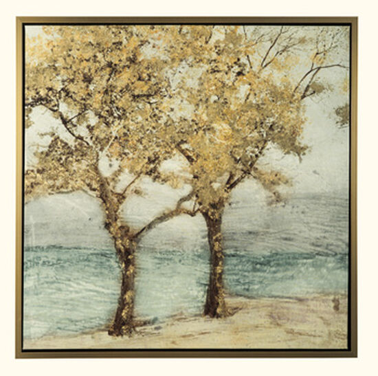 Traditional Tree Design Framed Canvas Wall Art in Gold/Brown/Gray/Aqua
