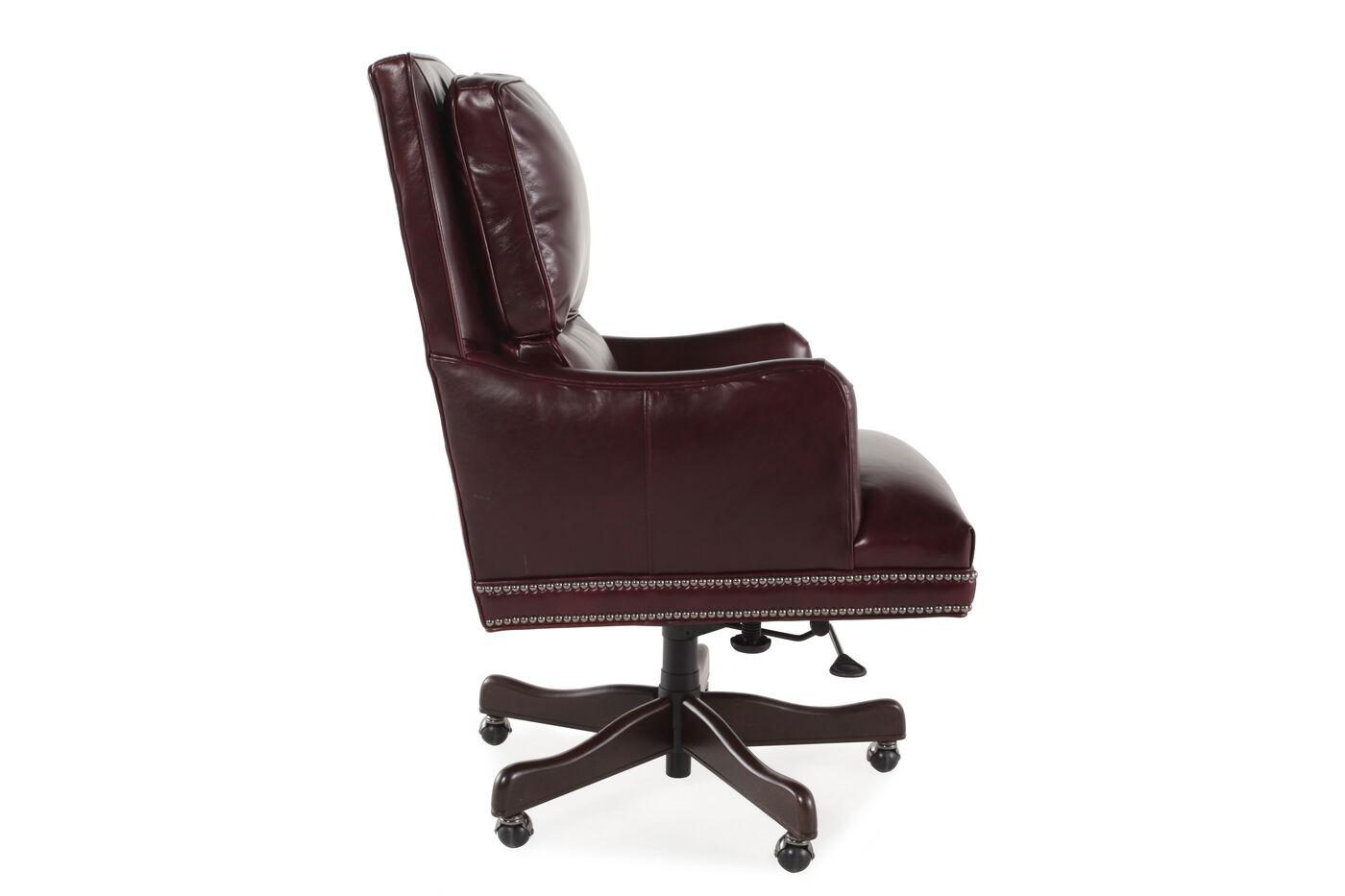 Leather Ergonomic Executive Office Tilt Chair in Dark Burgundy ...