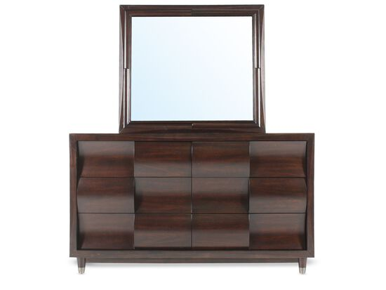 Two-Piece Contemporary Dresser and Mirror in Dark Cherry
