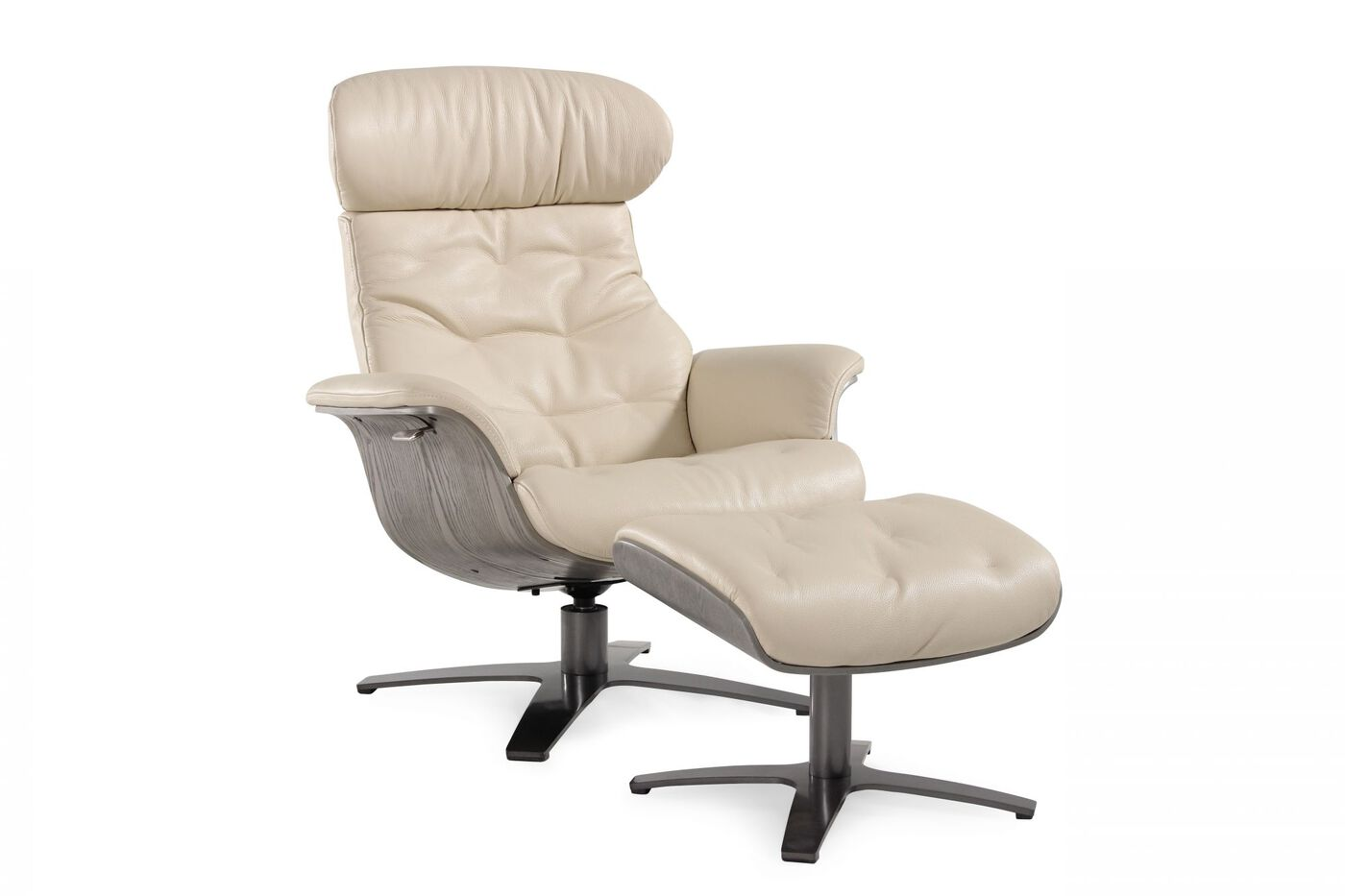 Contemporary Swivel Recliner and Ottoman in Cream | Mathis ...