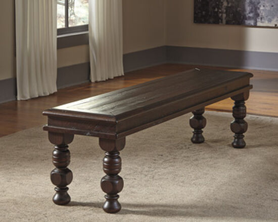 "64"" Casual Solid Wood Bench in Brown"