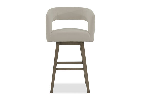 """Microfiber Nailhead Accented 41"""" Open Back Bar Stool in White"""