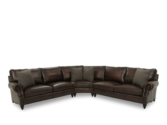 "Leather 122.5"" Nailhead Trimmed Sectional in Brown"
