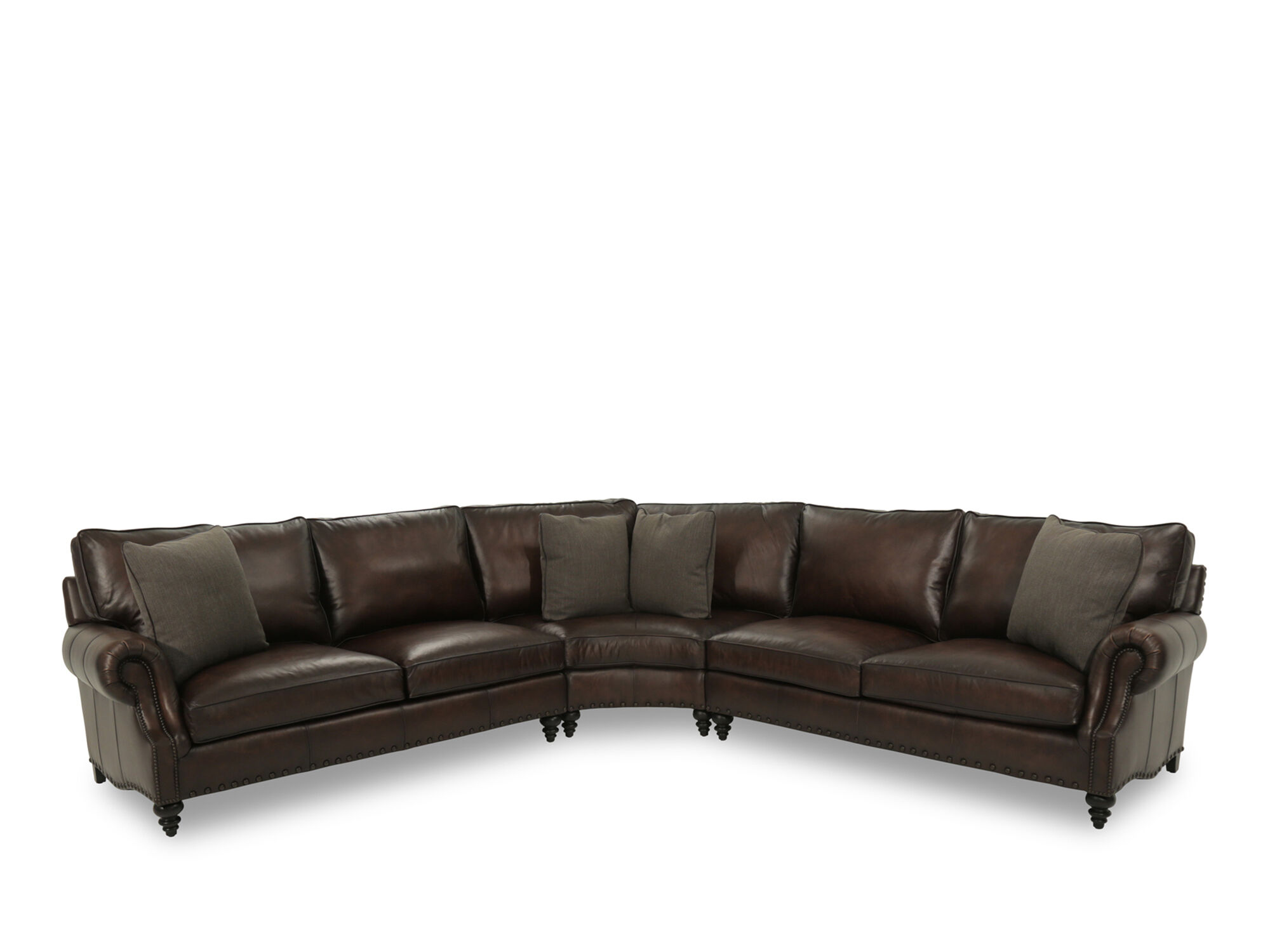 Wonderful Leather 122.5u0026quot; Nailhead Trimmed Sectional In Brown Leather 122.5u0026quot;  Nailhead Trimmed Sectional In Brown