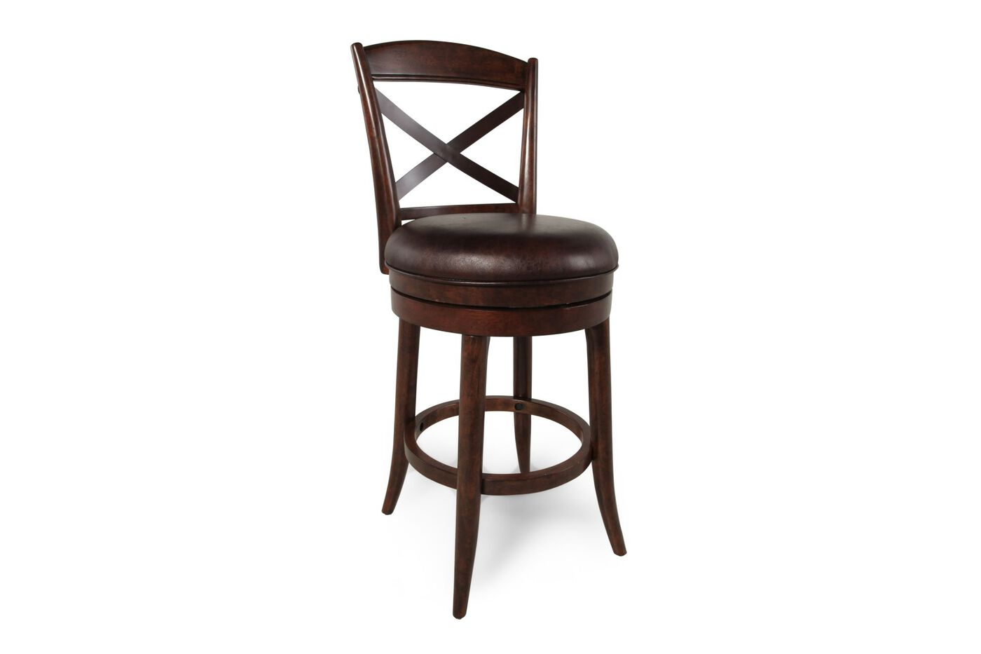 X Back 46 Quot Swivel Bar Stool In Dark Brown Mathis