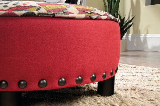 "Nailhead Accented Contemporary 22"" Ottoman in Red"