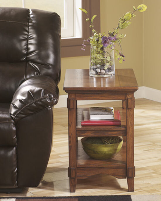 Two-Shelf Rectangular Casual End Table in Medium Brown