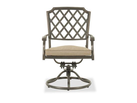 Lattice-Back Aluminum Swivel Chair in Bronze