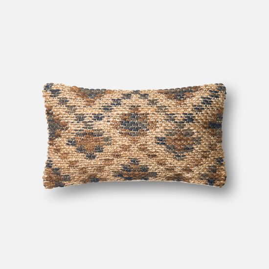 """Contemporary 13""""x21"""" Cover w/Down Pillow in Brown/Beige"""